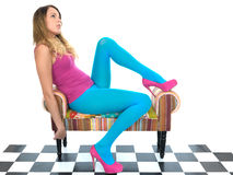 Attractive Young Woman Relaxing in Blue Tights Stock Images