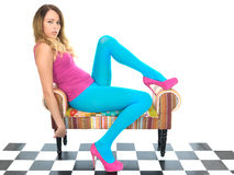 Attractive Young Woman Relaxing in Blue Tights Royalty Free Stock Photos