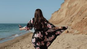 Attractive Girl Is Enjoying At Sea Coast On Summer Vacation Happy Day.