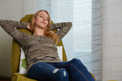 Attractive young woman resting royalty free stock photos