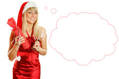 Attractive young woman santa Stock Photography