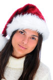 Attractive young woman in Santa hat Royalty Free Stock Photos