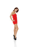 Attractive young woman in sexy red dress Royalty Free Stock Images
