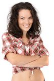 Attractive young woman in sexy shirt Stock Photography