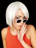 Attractive Young Woman shocked Wearing Sunglasses Stock Photos