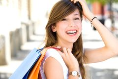 Attractive young woman shopping Stock Photo