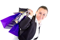 Attractive young woman with shopping bags Royalty Free Stock Image