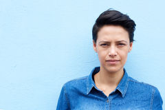 Attractive young woman with short hair Royalty Free Stock Image