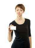 Attractive young woman showing blank badge Stock Images