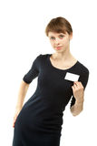 Attractive young woman showing blank badge Stock Photo