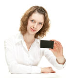 Attractive young woman showing blank black card Stock Photography