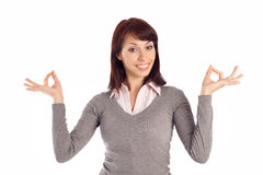 Attractive Young Woman Showing OK gesture Royalty Free Stock Photos