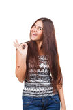 Attractive young woman showing ok sign Stock Photography