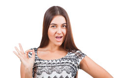 Attractive young woman showing ok sign Royalty Free Stock Photo