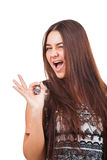 Attractive young woman showing ok sign Stock Image