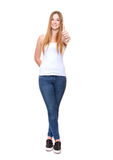 Attractive young woman showing thumbs up Royalty Free Stock Photo