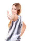 Attractive young woman showing thumbs up Stock Image