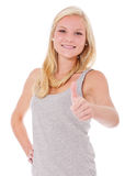 Attractive young woman showing thumbs up Royalty Free Stock Images