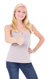 Attractive young woman showing thumbs up Stock Photos