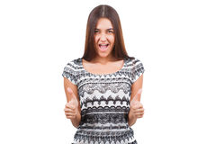 Attractive young woman shows thumb up sign Stock Photo