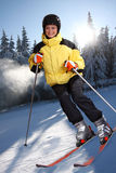Attractive young woman skiing Royalty Free Stock Photography