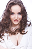 Attractive young woman with skittish look and long Royalty Free Stock Photography