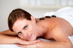 Attractive young woman at a spa. Close up portrait of a attractive young woman at a spa Royalty Free Stock Image
