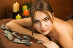 Attractive young woman in spa salon Stock Photo