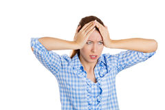 Attractive young woman stressed out and tired Royalty Free Stock Image