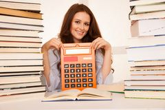 Attractive young woman student studi math Stock Images