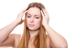 Attractive young woman suffers from headache Stock Photos