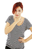 Attractive young woman suffers from sore throat Royalty Free Stock Images