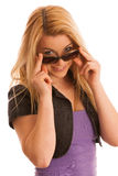 Attractive young woman with sunglasses isolated over white backg Royalty Free Stock Image