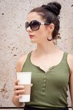 Attractive young woman with  sunglasses outdoor Royalty Free Stock Photos