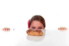 Attractive young woman sweet temptation Stock Photos