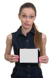Attractive young woman with a tablet pc Royalty Free Stock Photos