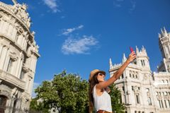 Attractive young woman taking a selfie in Madrid, Spain Stock Photography