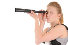 Attractive young woman with telescope Royalty Free Stock Image