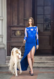 Attractive young woman with thoroughbred greyhound exit from her Royalty Free Stock Images