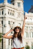 Attractive young woman tourist having fun in Madrid city Stock Image
