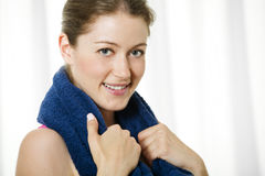 Attractive Young Woman With Towel Around Her Neck Royalty Free Stock Photography
