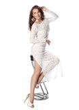 Attractive young woman in transparent white dress Stock Image