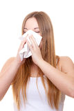 Attractive young woman using tissue Stock Photos