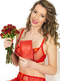 Attractive Young Woman in Valentines Pin Up Lingerie  Royalty Free Stock Photography