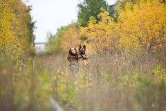 Attractive young woman walking wuth her dog German shepherd at autumn forest, near rail way - wide angle Stock Image