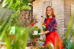 Attractive woman watering plants in the garden stock photography