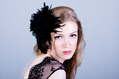 Attractive Young Woman Wearing Black Stock Photo