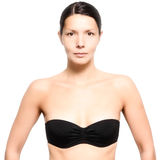 Attractive young woman wearing a black bra Royalty Free Stock Images