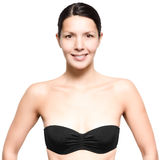 Attractive young woman wearing a black bra Royalty Free Stock Photo
