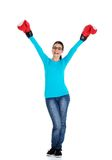 Attractive young woman wearing boxing gloves Stock Photography